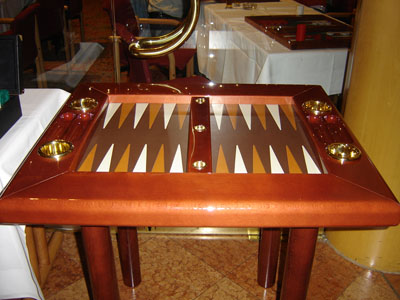 Backgammon Set. A Wooden Backgammon Table